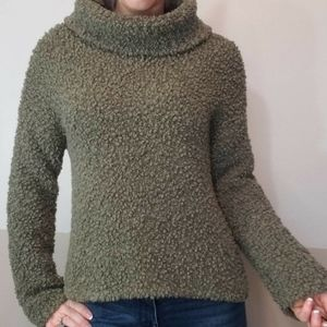 Olive Green Cowl Neck Fuzzy Sweater
